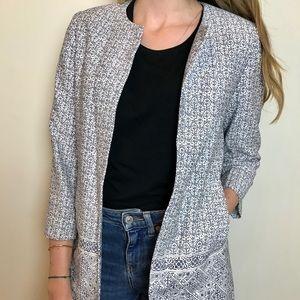 CAROLL Paris blue/white collarless coat size M